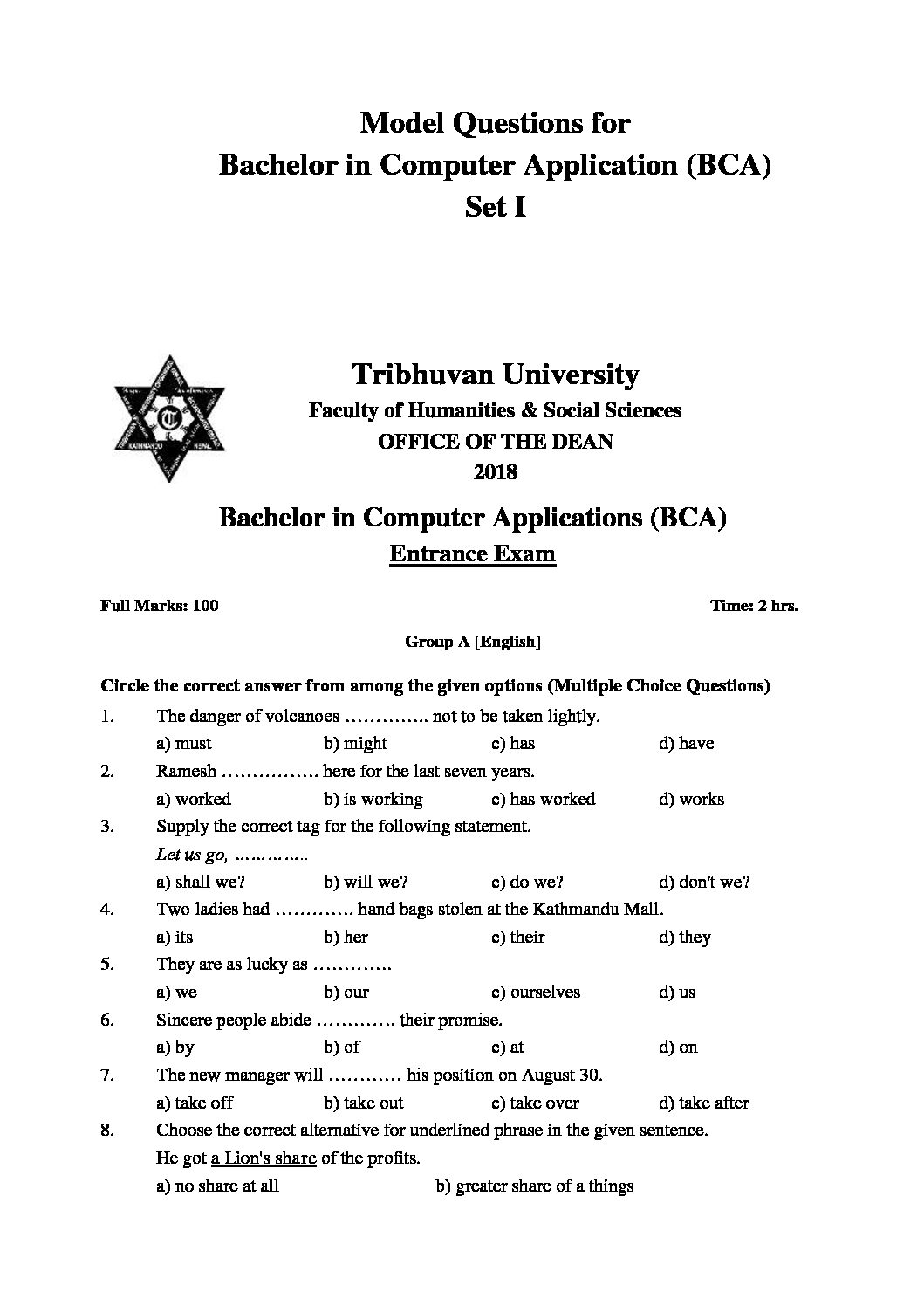 BCA Entrance 2019-20 Question Paper Previous Year Sample ...